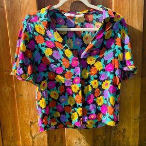Zara Flower Summer Button Blouse